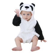 DINGANG® Baby Hooded Bathrobe   Super Soft and Absorbent Cotton Baby Bathrobe with Cute Bear Hooded, Perfect for Baby 0 to 2 Years Old, White Black