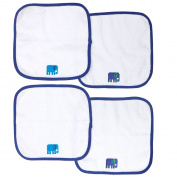 Happy Chic by Jonathan Adler Embroidered Woven Terry Washcloth Set, Blue Elephant, 4 Count