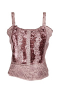Mogul Interior Tank Top Summer Embroidered Brown Strappy Stylish Blouse S