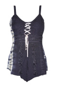Mogul Interior Tank Top Navy Blue Embroidered with Adjustable Strap Rayon Blouse Bohemian Dresses S