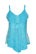 Mogul Interior Tank Top Blue Embroidered with Adjustable Strap Rayon Blouse Bohemian Dresses S