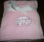 """Fluffy Soft Pink Baby Blanket 80cm x 80cm for Girl Embroidery """" Sugar and Spice and Everything Nice"""""""