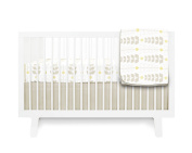 Olli & Lime Miller Crib Bedding Set, Quilt Pattern Sheet/Stone Skirt, 3 Piece