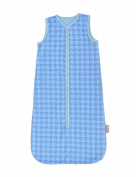 Glorious Lou 100% Organic Cotton Jersey Summer Sleepingbag - 0,32 TOG - Sky Blue - Houndstooth (9 - 30 months
