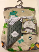 Baby Blanket Safari Sports Taupe Reversible to Popcorn