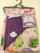 Baby Blanket Pink Safari Reversible to Popcorn