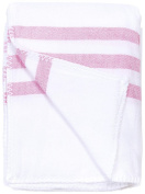 Turkish-T Super Soft Baby Blanket - White with Pink Stripes