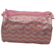Reflectionz Girls Pink Glitter Sequin Adorned Chevron Wave Dance Duffel Bag