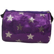 Reflectionz Girls Purple Silver Sequin Star Accented Dance Duffel Bag