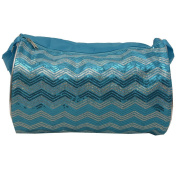 Reflectionz Girls Turquoise Glitter Sequined Chevron Wave Dance Duffel Bag