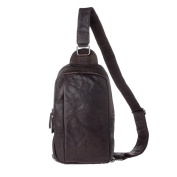 Backpack Shoulder Sling Chest Bag Cross Body for men in Leather Wrinkled One strap DUDU Dark Brown
