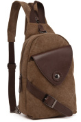 Aionger Unisex Canvas and Leather Chest Bag Bodybag Shoulder Bag Backpack