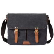 Ceyue Mens Womens Vintage Canvas Laptop Messenger Crossover Shoulder Bag with Padded Laptop Compartment 33 x 10 x 28CM