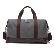 Men Canvas Leather Holdall Travel Shoulder Bags Duffle Overnight Weekend Satchel Totes Bag Handbags (Size