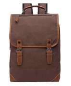 Tina Men's Retro Solid Canvas Zippered Belted Flap Travel Daypack School Rucksack