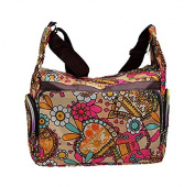 Multicoloured Shoulder Bag with Colourful Floral and Hearts Patterns-