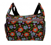 Multicoloured Shoulder Bag with Colourful Floral Patterns-