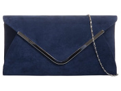 Navy Blue Envelope Clutch Bag, Dark Blue Faux Suede Evening Bag with Silver Tone Metal Trim, Ladies Prom Shoulder Bag, Wedding Handbag