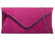 Pink Envelope Clutch Bag, Cerise Faux Suede Evening Bag with Silver Tone Metal Trim, Ladies Fuchsia Shoulder Bag, Prom Wedding Handbag