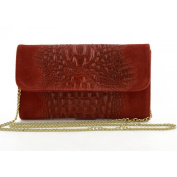 Genuine Leather Woman Clutch Crocodile Printed Colour Red - Leather Goods Made In Italy - Woman Bag
