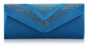 Ladies Blue Elegant Satin Feel Clutch Bag with Diamante Womens Evening Party Clutch Bag
