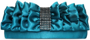 Ladies Turquoise Blue Pleated Ruffle Satin Clutch Purse Womens Evening Clutch Bag