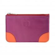 Zip pouch purse for womens Genuine leather Credit card Money holder DUDU Fuchsia