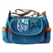 GESIMEI Women's Canvas Ethnic Flower Painted Adjustable Cross-Body Bag