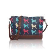 Blue Poodle Dog Sling Oil Coated Canvas Cross Body Messenger Fashion Bag Handbag