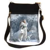 Winter Guardians White Wolf Shoulder Bag By Anne Stokes