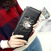 Enjoydeal Women¡äs Spider Pattern Leather Multifunction Zip-around Wallet Black