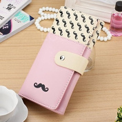 Enjoydeal New Women Long Purse Moustache Pattern PU Leather Handbag Bag Wallet Pink