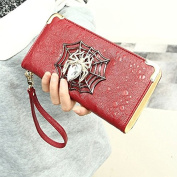 Enjoydeal Women¡äs Spider Pattern Leather Multifunction Zip-around Wallet Orange Red