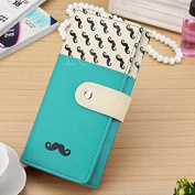 Enjoydeal New Women Long Purse Moustache Pattern PU Leather Handbag Bag Wallet Blue