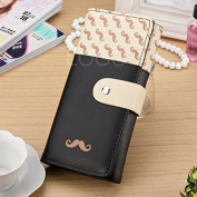 Enjoydeal New Women Long Purse Moustache Pattern PU Leather Handbag Bag Wallet Black