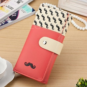 Enjoydeal Women Long Purse Wallet Moustache Pattern PU Leather Handbag Watermelon Red