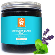 Elbahya Moroccan Black Soap with Lavender Essential Oil & Mint. Include Exfoliating Hammam Glove - Never Tested on Animals - Best Gift for Men, Women and Mom. Comes In Gift Package 250g.