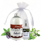 Detox & Soothe - Aromatherapy Bath Salts & Pillow Spray Mist Gift Set - Packaged in Organza Bag - Ginger, Sweet Orange & Lemongrass Bath Salts + Eucalyptus & Frankincense Pillow Mist Spray by Salts & Co