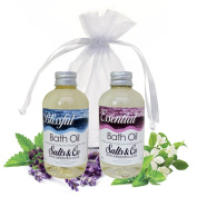 Aromatherapy Bath Oils Gift Set - Packaged in Organza Bag - Blissfull & Essential - Lavender, Ylang Ylang and Rose by Salts & Co