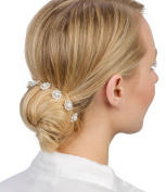 Set of Six Silver Hair Pins with Flower Hair Pins with Rhinestones and White Pearls