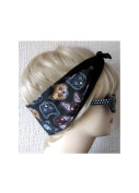 Dolly Cool Kitty Sugar Skull Hair Tie Head Scarf Black Black