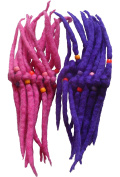 FAIR TRADE FELT 14 KNOT ELASTICATED HAIR SCRUNCHY SCRUNCHIE DREADLOCKS - 2 PACK