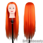 Eseewigs High Quality Synthetic Hair Mannequin Colourful Manikin Training Head Orange Red Colour 70cm