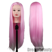 Eseewigs Cosemetology Training Pratcice Cutting Styling Mannequin Head with Synthetic Hair Pink Colour 70cm