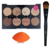 Technic Colour Fix Cream Foundation Contour Palette + LyDia® Black Foundation/Concealer Brush + LyDia® Mini Beauty Sponge Blender
