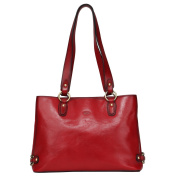 Banuce Vintage Italian Waxy Leather Double Zippered Shoulder Handbags
