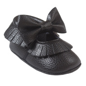 Baby Boys Girl Toddler Shoes Soft Sole with Bow Tie Tassels Walking Shoes Size 14 - Black