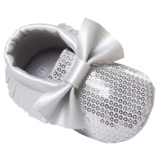 Baby Girl Toddler Shoes Soft Sole with Bow Tie Tassels Shiny Walking Shoes Size 14 - Silver