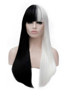 Tsnomore Fashion Long Straight Half White Half Black Full Bang Women Cosplay Synthetic Wig