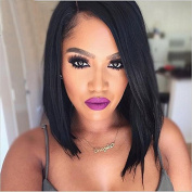 7A Brazilian Virgin Bob Straight Human Hair Wig Natural Wave Glueless Full Lace Wig with Bangs for Women 30cm